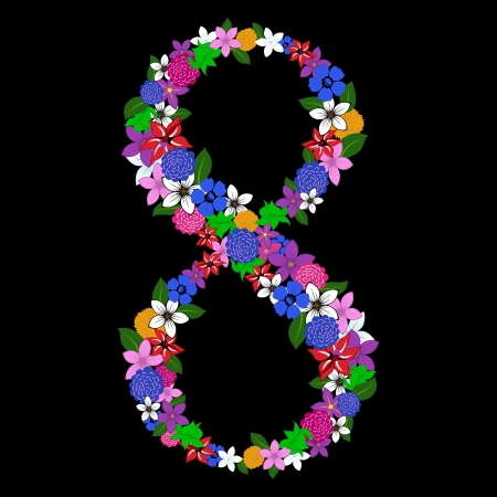 numerical: Floral numeral for using in web and print design. Vector illustration.