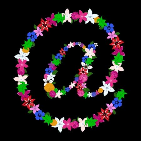lettre de feu: Courrier Floral chanter pour l'utilisation dans la conception web et print. Vector illustration.