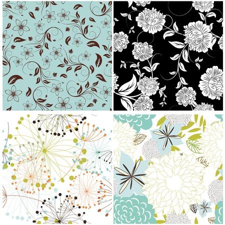 sketch pattern: Vector patr�n floral sin fisuras. Para facilitar la toma de patr�n sin apenas arrastran todo el grupo en la barra de muestras, y lo utilizan para rellenar los contornos. Vectores
