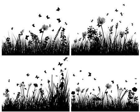 Vector grass silhouettes background set. All objects are separated. Stock Vector - 13786591