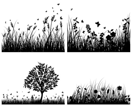 Vector grass silhouettes background set. All objects are separated. Stock Vector - 13786587
