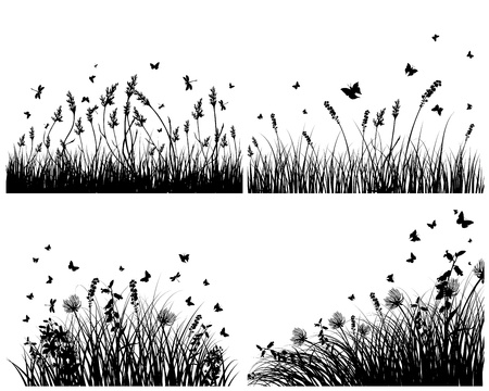 Vector grass silhouettes background set. All objects are separated. Stock Vector - 13786584