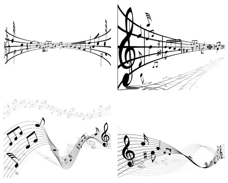 pentagrama musical: Vector notas pentagrama musical de fondo conjunto para el uso del diseño Vectores