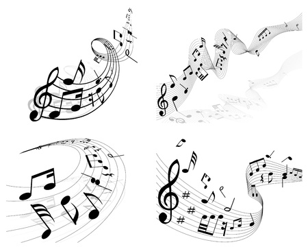 music dj: Vector musical notes staff background set for design use