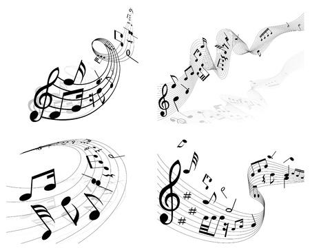 nota musical: Vector notas pentagrama musical de fondo conjunto para el uso del diseño Vectores