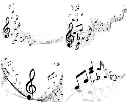 Vecteur ensemble des notes de musique de fond du personnel pour utiliser la conception