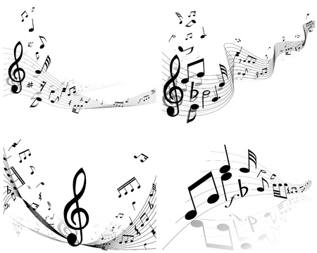 minims: Vector musical notes staff background set for design use