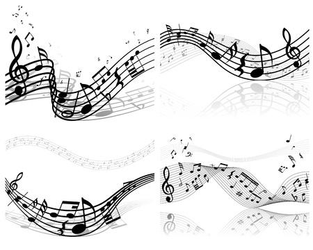 notas musicales: Vector notas pentagrama musical de fondo conjunto para el uso del dise�o Vectores