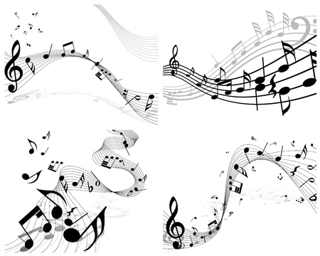 Vector musical notes staff background set for design use Stock Vector - 13786579