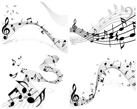 pentagrama musical: Vector notas pentagrama musical de fondo conjunto para el uso del dise�o Vectores