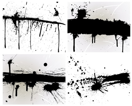 inkblots: Abstract grunge background set for design use.