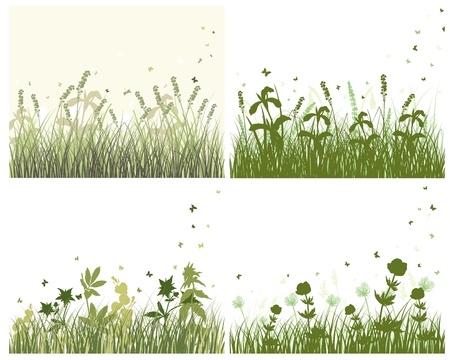 Grass silhouette background set. All objects are separated. Stock Vector - 13932531