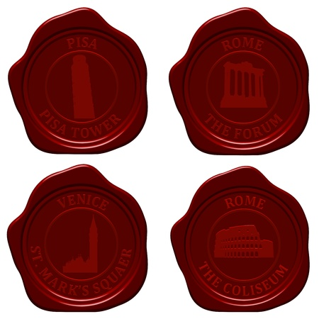 Italy sealing wax stamp set for design use.  Vector