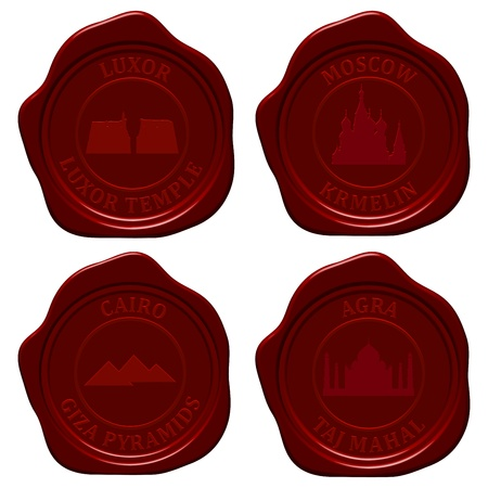 Landmark sealing wax stamp set for design use.  Vector