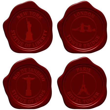 sealing wax: Landmark sealing wax stamp set for design use illustration.