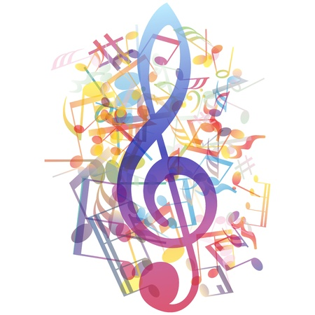 clave de fa: notas musicales de fondo para el uso personal de diseño