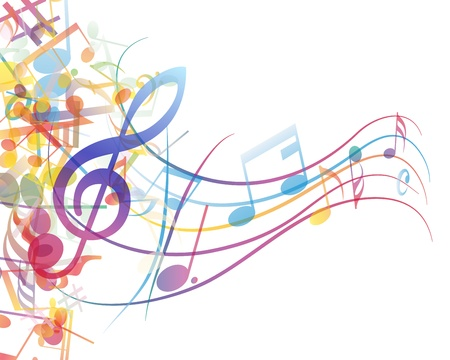 disco symbol: musical notes staff background for design use