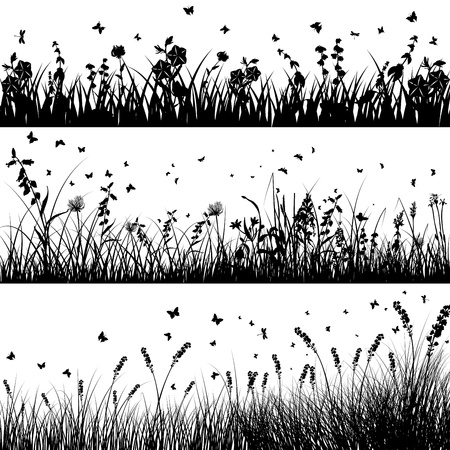 meadow: grass silhouette background set. All objects are separated.