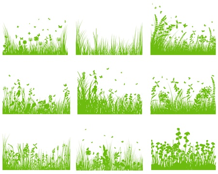 grass silhouette background set Stock Vector - 14191595