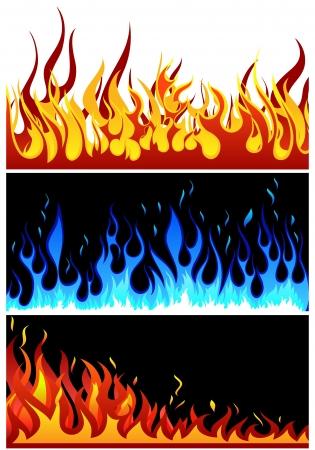 Set di sfondi vettoriali fuoco con la lingua di fiamma