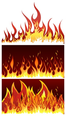 bonfires: Set of fire vector backgrounds with tongue of flame