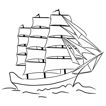 outline drawing: Sketch of nautical sailing vessel in a sea