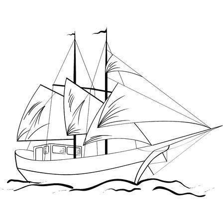 Sketch of nautical sailing vessel in a sea Stock Vector - 14405210