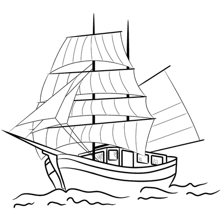sailing vessel: Esquema de los buques de vela n�utica en un mar Vectores
