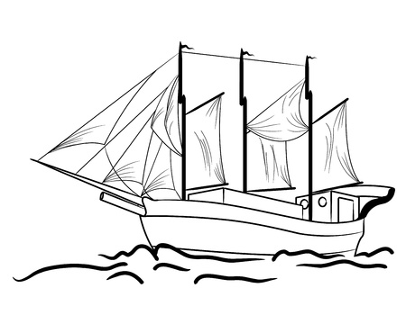 Sketch of nautical sailing vessel in a sea Vector