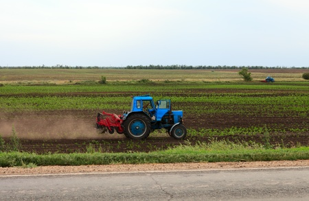 Blue tractor on a field cultivating soil photo