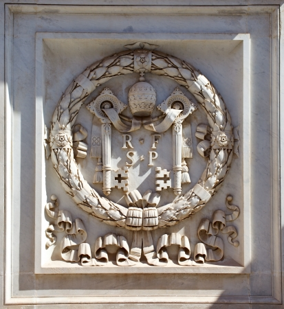governmental: Coat of arms of Vatican  Europe  Marble