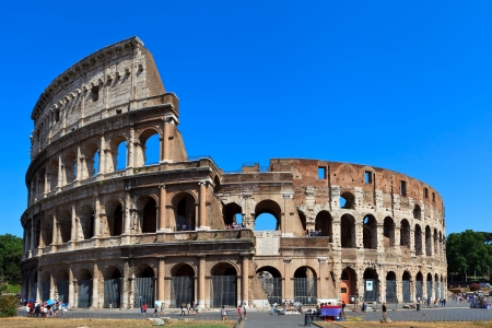View of ancient rome coliseum ruins. Italy. Rome. photo