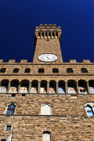 Palazzo Vecchio. Vief from bottom to top. Florence. Italy. photo
