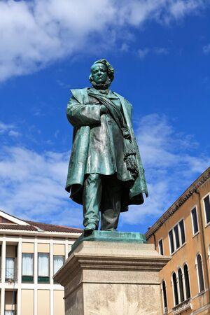 manin: Bronze statue of Daniel Manin in Venice. Italy. Europe. Stock Photo