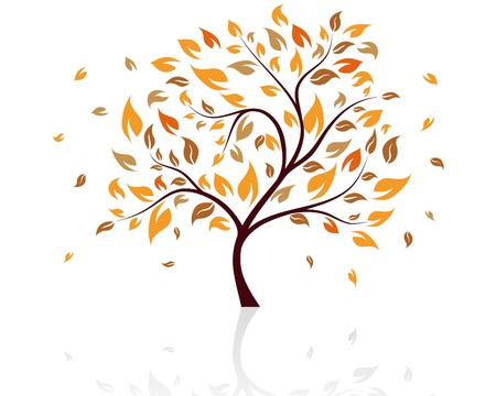 falling leaves: Autumn tree with falling down leaves. Vector illustration.