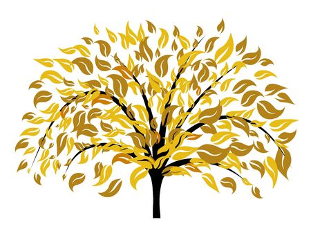 Autumn tree with falling down leaves. Vector illustration. Vector