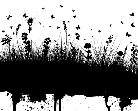 Abstract grunge vector background with grass and flowers Vector