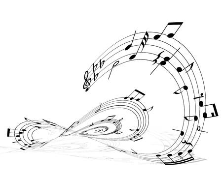 eight note: Vector musical notes staff background for design use Illustration