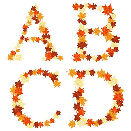 Autumn maples leaves letter set.  Stock Vector - 14791826