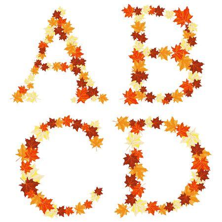 Autumn maples leaves letter set. Stock Vector - 14791826