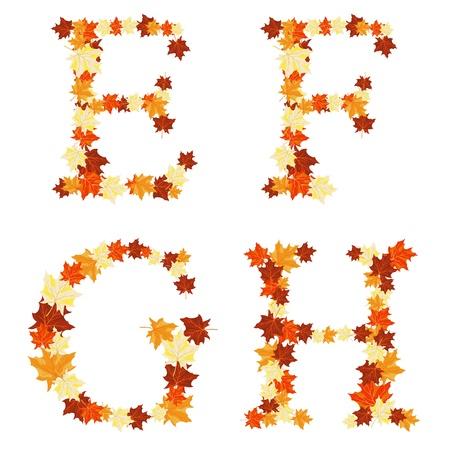 Autumn maples leaves letter set. Stock Vector - 14791828