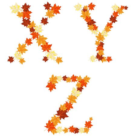 Autumn maples leaves letter set. Vector