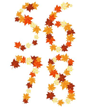 Autumn maples leaves letter set.  Vector