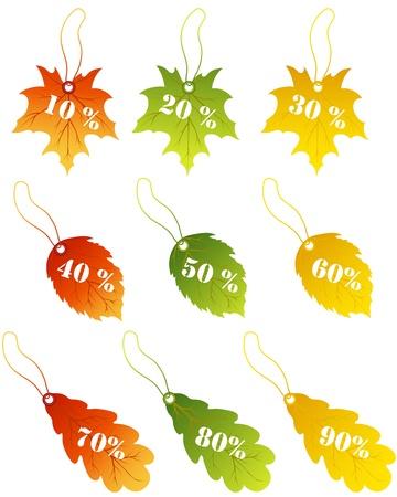 Autumn maples leaves sale label.  Vector
