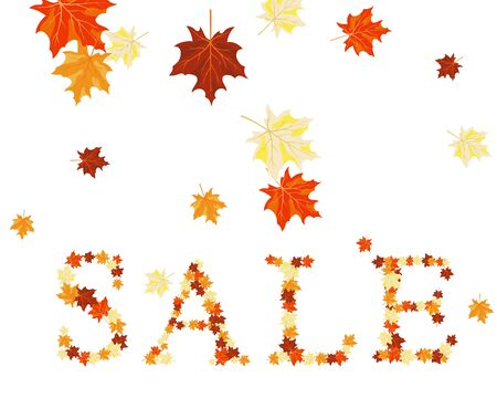 Autumn maples leaves sale word.  Vector