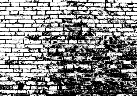 Grunge white and black brick wall background.  Vector