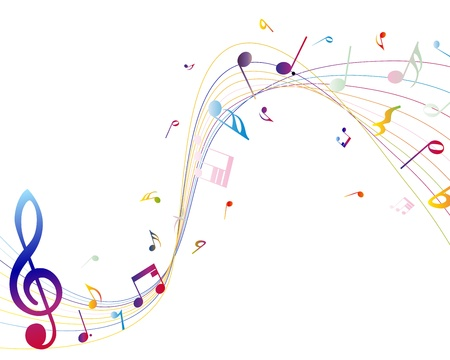 Multicolour  musical notes staff background. Vector