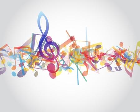Multicolor note musicali del personale sfondo.