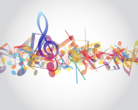 musical staff: Multicolour  musical notes staff background.