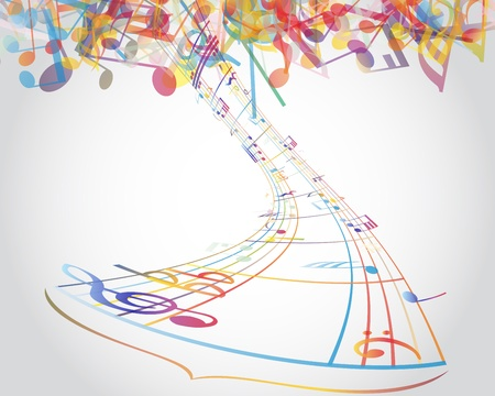 minim music note: Multicolour  musical notes staff background.